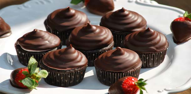 cupcake au chocolat et fraise