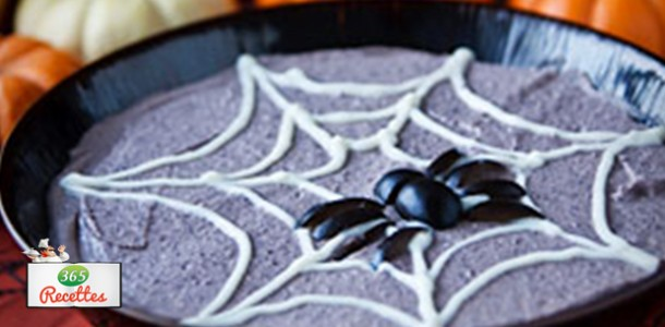 recette d'Halloween houmous d'haricot effrayant