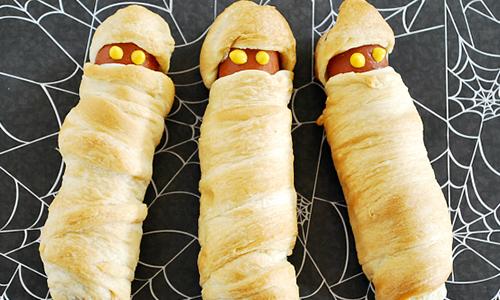 idée recette halloween : momie hot dog