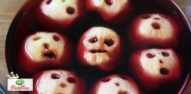 têtes de pommes pour Halloween