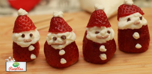 Comment faire un p re noel avec des fraises for Decoration maison pour buche de noel