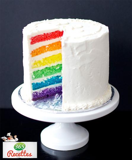recette gâteau d'anniversaire arc en ciel